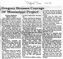 Gregory stresses courage of Mississippi Projectin The Oxford Press, April 6, 1989