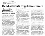 Dead activists to get monumentin The Dayton Daily News, February 26, 1999