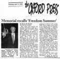 Memorial recalls Freedom Summerin The Oxford Press, April 13, 2000