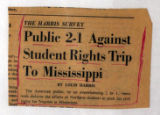 The Harris Survey Public 2-1 Against Student Rights Trip to Mississippi