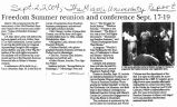 Freedom Summer Reunion and Conference Sept. 17-19in The Miami University Report, September 2, 2004
