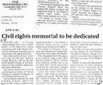Civil rights memorial to be dedicatedin the Chronicle Telegram, April 5, 2000