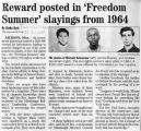 Reward posted in Freedom Summerslayings from 1964in The Journal News, December 21, 2004