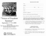 Registration form, Voices of Freedom Summer, ca. 2004