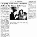 Gregory discusses students action in press interviewin The Miami Student, May 11, 1964
